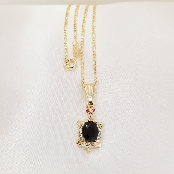 Black Turtle Necklace. 18K Gold Plated. New